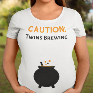 mom of twins maternity funny halloween shirt