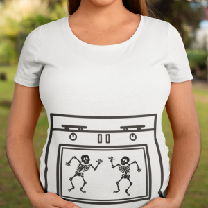 mom of twins maternity Halloween t-shirt